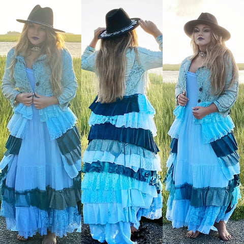Mermaid sea siren fall duster, Halloween ruffle fairytale duster, kimono