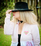 Juicy couture maxi kimono, shabby chic pink fall romantic clothing, True Rebel Clothing M