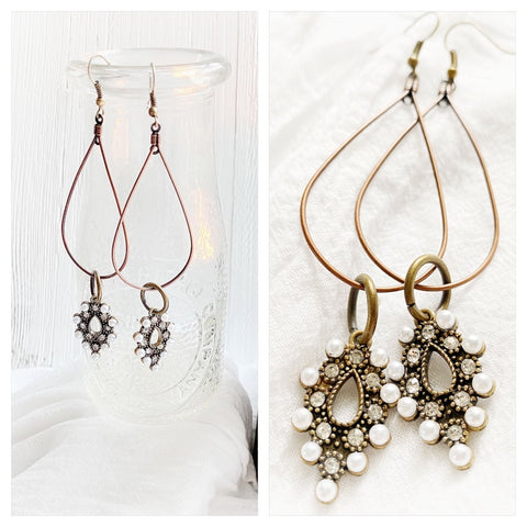 Pearl drop boho earrings, sweet magnolia shoulder duster earrings, Lexi James Jewelry