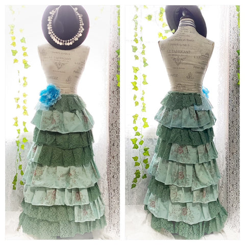 Mermaid ruffle maxi skirt, ocean green n rose shabby chic ruffle skirt M