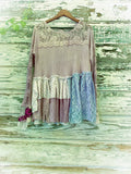 Gypsy rose tunic top, pioneer girl rose and lace tunic shirt, L XL