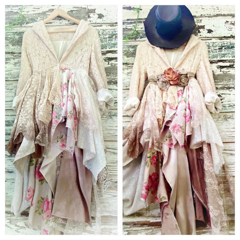 Shabby chic rose n lace duster kimono jacket, hi low romantic clothing M L