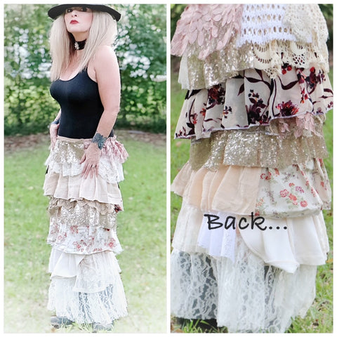 Creme country chic lace maxi skirt, boho chic fall skirts, True rebel Clothing M L