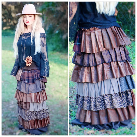 Camel long maxi skirt, fall holiday maxi, romantic holiday clothing, True Rebel Clothing M