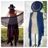Rose crochet vintage piano shawl, Stevie Nicks rock n roll shawl, True Rebel clothing