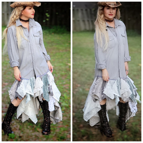 Holiday sale, shabby chic holiday gray tunic dress, pearl button dress, True Rebel Clothing M L