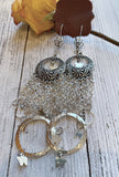 Butterfly shoulder duster earrings, silver chain earrings, True Rebel Clothing
