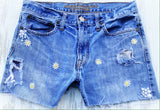 Denim cut off boyfriend shorts, destroyed women's shorts, 32