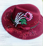 Skeleton rose tattoo hat, Gypsy soul red Gaga hat, red hats