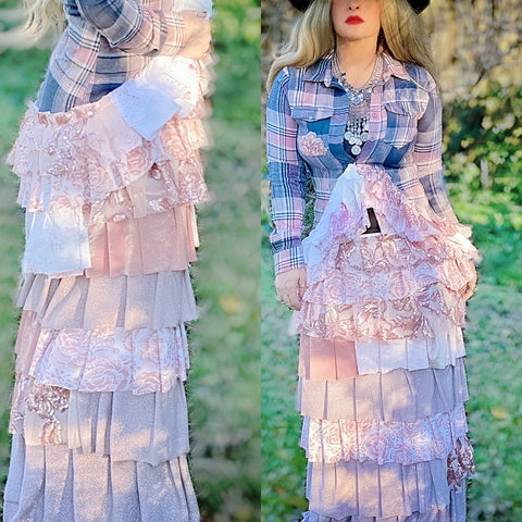 Pink boho maxi skirt, French couture, shabby chic romantic clothing, True Rebel Clothing