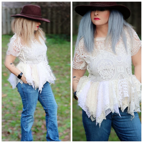 Shabby chic crochet top, boho crochet festival top, romantic women's clothing M