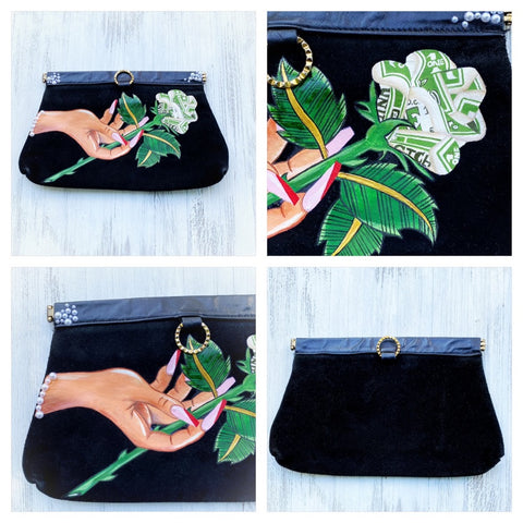 Vintage clutch with hand painted artwork, black suede clutch purse