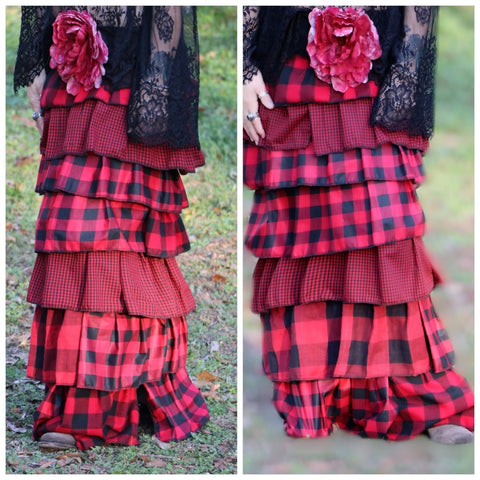 Buffalo plaid custom piece, country Christmas red, boho chic clothing, true rebel clothing