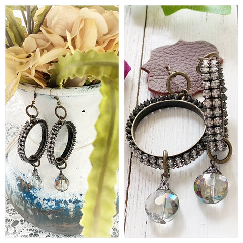 Boho Sparkling hoop earrings, glass bead, should duster
