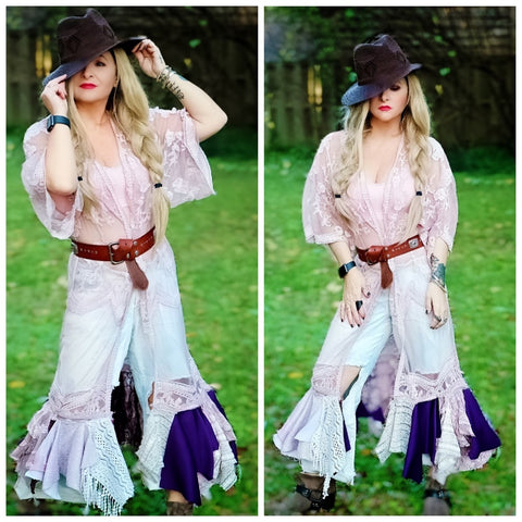 Ragdoll lace kimono duster SALE, Stevie Nicks style romantic gypsy clothing, True rebel clothing ML