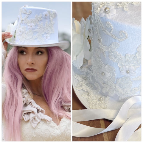White bridal hat, bridal wedding top hat, romantic looks for weddings, shabby chic, True Rebel Clothing