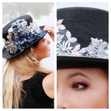 Floral top hat, Gypsy soul, embellished black hat, Magical, True Rebel Clothing