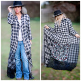 Flannel ruffle duster kimono, patchwork, boho hippie chic, Ooak art piece, True rebel clothing L Xl