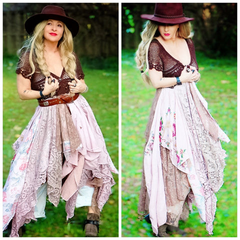 Cyber Monday Hippie chic cocoa brown crochet duster, boho chic clothing, shabby chic floral, True Rebel Clothing M L