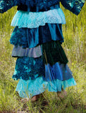 Mermaid ruffle maxi skirt, romantic clothing for women, boho fall looks, true rebel clothing M L