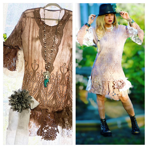 Gypsy crochet tunic dress, brown bohemian gypsy fringe tunic, M L