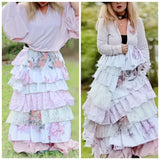 Shabby chic pink maxi skirt, ruffle shabby country maxi, True rebel clothing M L