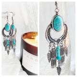Turquoise n silver hippie earrings, bohemian hippie jewelry, Lexi James Jewelry