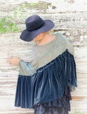 Velvet Stevie Nicks Poncho top, Gypsy spell sage turquoise tunic OS