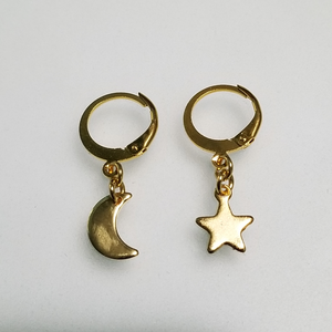 Moon & Star Hoops |GOLD|