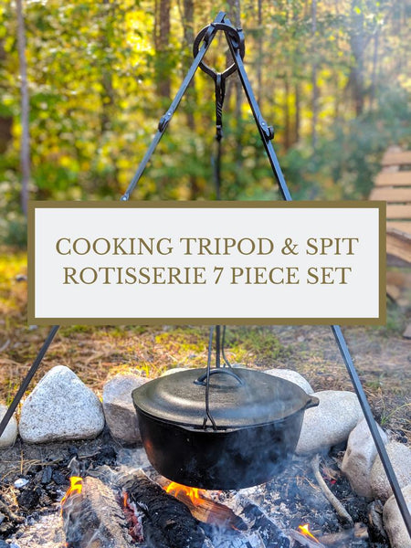 7 Piece Hand Forged Cooking Tripod and Spit Rotisserie