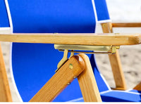 Brass hardware on the #101 Anywhere Chair reclining beach chair.
