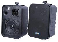 Pair of weather resistant indoor/outdoor speakers ideal for patio, deck and marine applications. Shown here in black finish.
