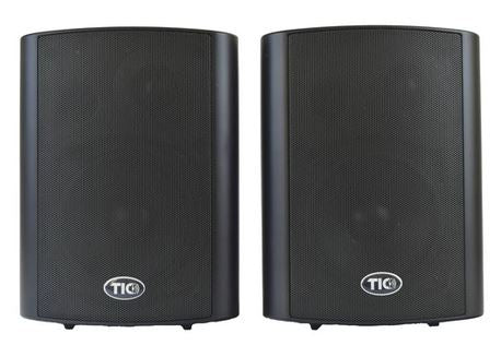 Pair of weather resistant indoor/outdoor speakers with bluetooth capability. Ideal for patio, deck and marine applications. Shown here in black finish.