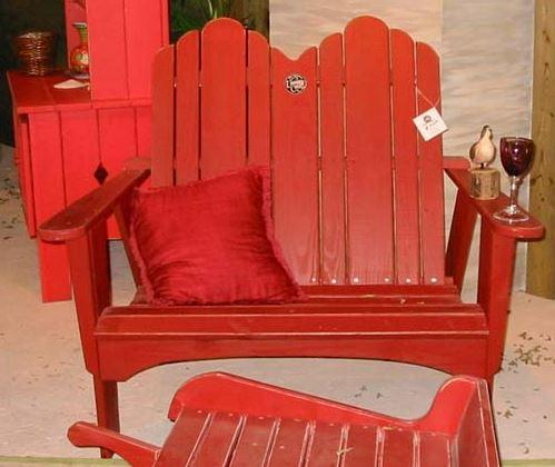 Uwharrie Chair Originial Adirondack 2 Seat Settee #1051 shown in tractor red