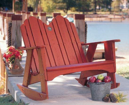 Uwharrie Chair Originial Adirondack 2 Seat Rocker #1053 shown in rustic red