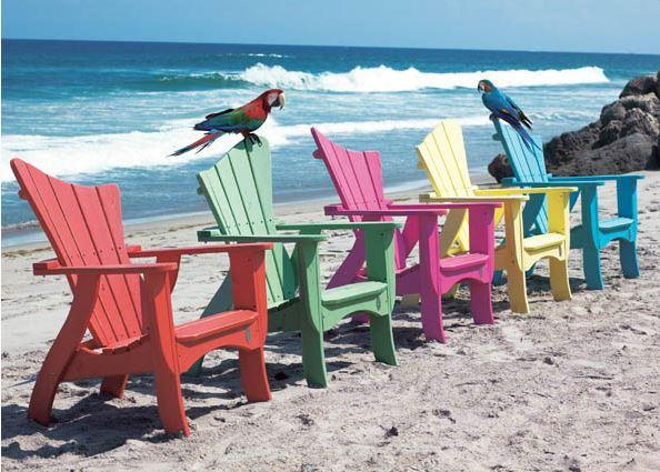 Wave Collection #7011 by Uwharrie Chair shown in Tangerine, Mint Green, Flamingo, Sunshine, B.T. Aqua