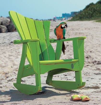 Wave Collection adirondack rocker by Uwharrie Chair, show in Lime