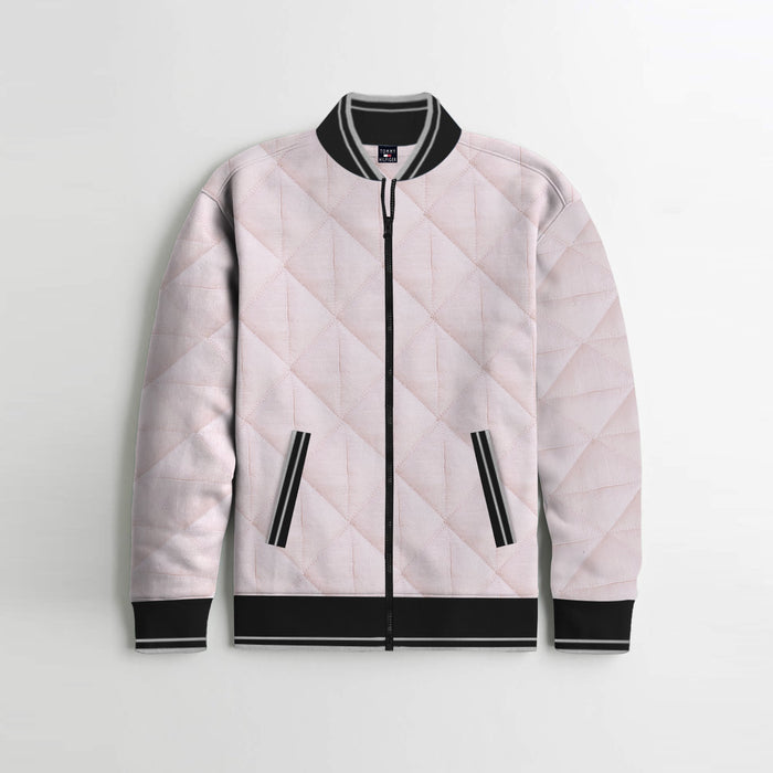 Quilted Zipper Baseball Jacket For Kids-Light Pink & Black-SP4402