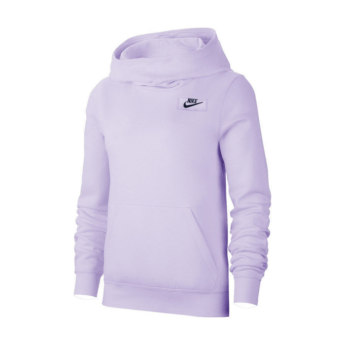 NK Fleece Pullover Hoodie For Men-Light Purple With Navy Embroidery-NA12654