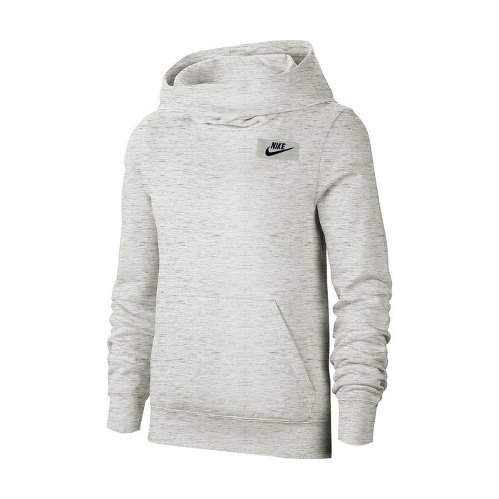 NK Fleece Pullover Hoodie For Men-Off White Melange With Navy Embroidery-NA12663