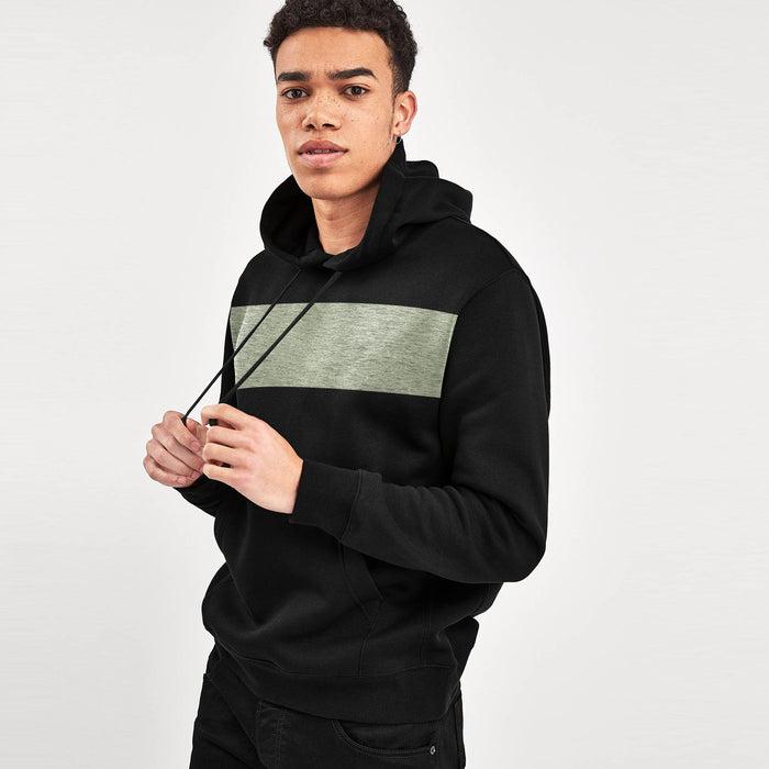 Next Fleece Pullover Hoodie For Men-Black With Off White Melange Panel-SP1600