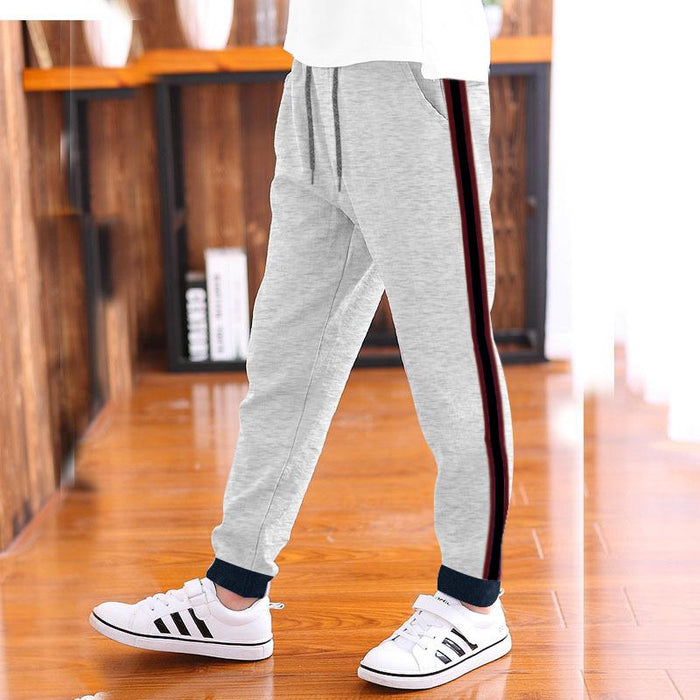Red Pearl Slim Fit Fleece Jogger Trouser For Kids-Grey Melange With Burgundy With Black Stripe-NA12466