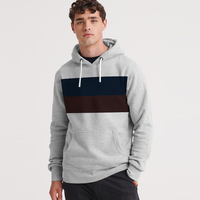 Fleece Pullover Hoodie For Men-Grey Melange With Dark Navy & Dark Maroon Panels-SP1666
