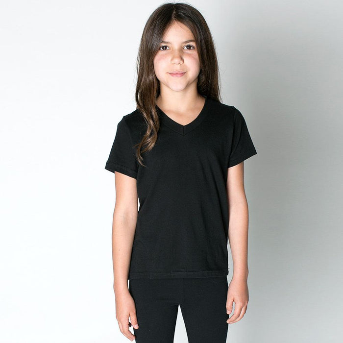 Popular Sport V Neck Single Jersey Tee Shirt For Kids-Black-NA11489