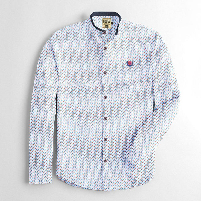 Premium Slim Fit Casual Shirt For Men-White & All Over Print-RCS61