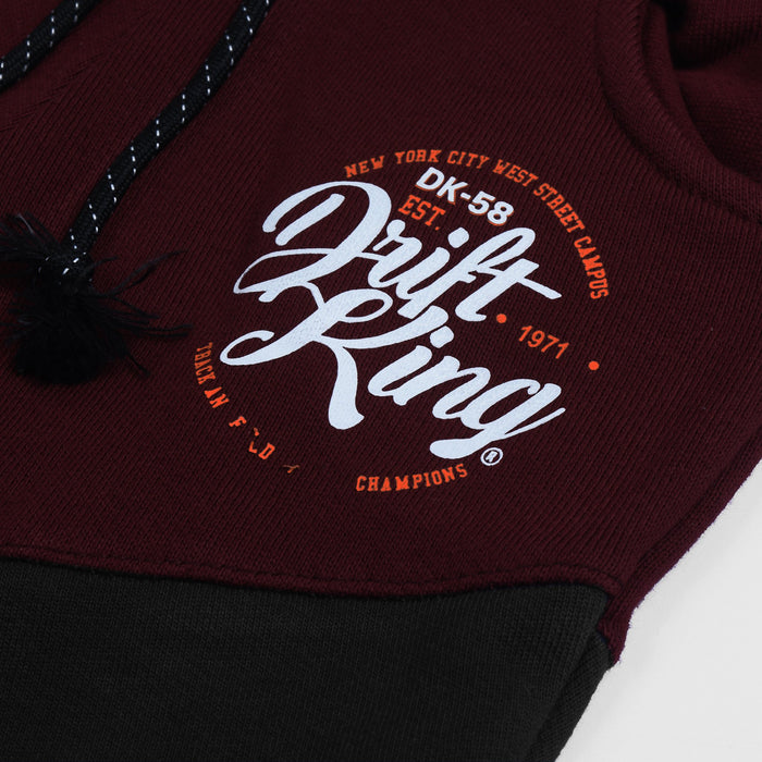 Drift King Slim Fit Terry Fleece Jogger Trouser For Kids-Black & Dark Maroon-NA12461