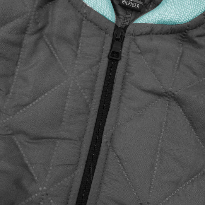 Quilted Zipper Baseball Jacket For Kids-Grey & Cyan Blue-SP4375