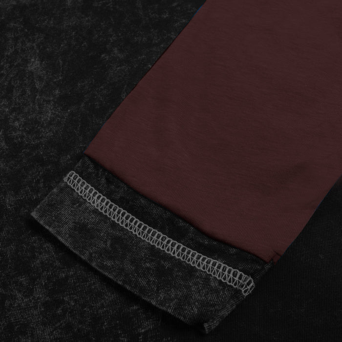 NK Summer Crew Neck Long Sleeve Faded Tee Shirt For Men-Black Faded With Maroon Panel-SP3484