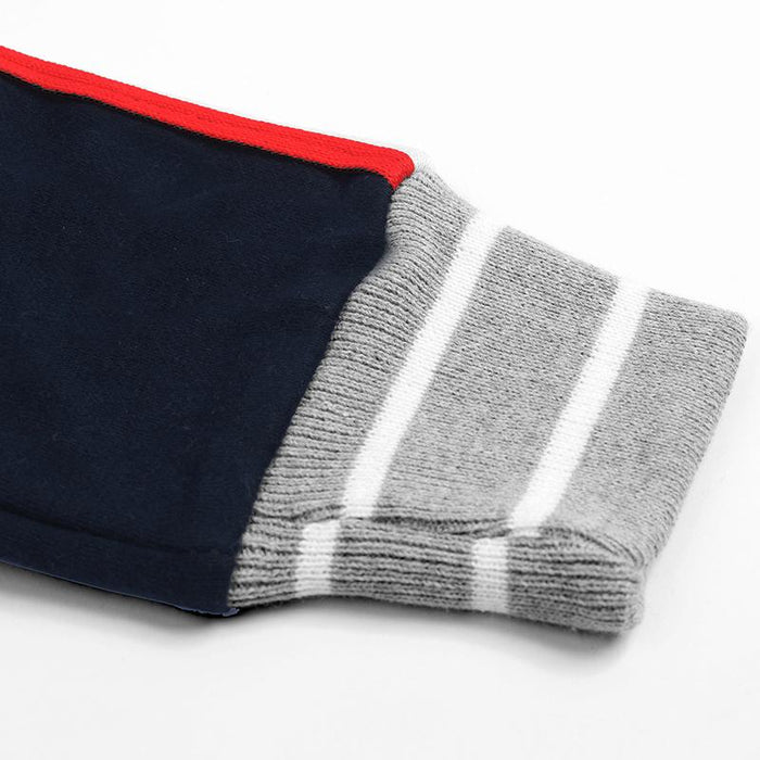 Red Pearl Slim Fit Fleece Jogger Trouser For Kids-Dark Navy With Red & White Stripe-NA12456