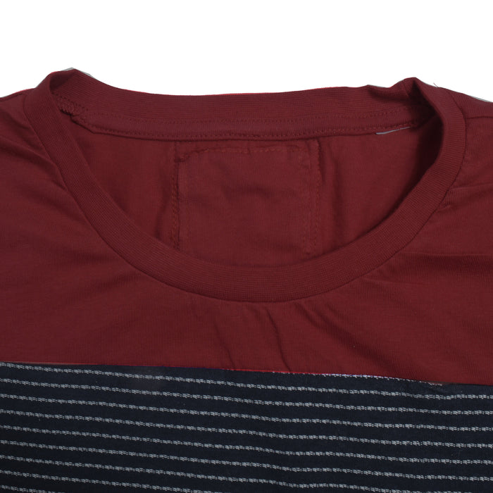 Crew Neck Single Jersey Tee Shirt For Kids-Red with Dark Navy Lining Panel-SP3055